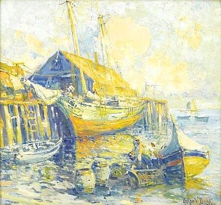 ARTHUR VIDAL DIEHL (American 1870-1929) Harbor Scene, Provincetown Oil on board 13.5in. x 14.5in. Signed lower right Best known for his paintings of New England coastal scenes, Arthur Diehl was a British artist who exhibited at the Royal Academy
