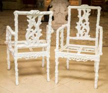 Five Faux Bois Cast Resin Garden Chairs after an Aesthe