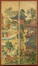 A Japanese Painted Parchment Four-Panel Screen, probabl