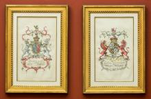 A Set of Four Family Coat of Arms Etchings 17 x 12 inch