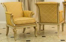 A Pair of Empire-Style Partial Gilt Creme Peinte and Up