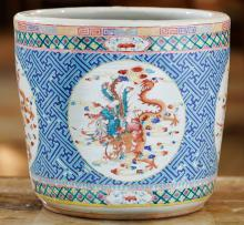 A Chinese Enameled Porcelain Jardinière 12-1/4 inches h