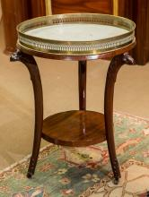 An Empire-Style Carved Mahogany, Brass, and Marble Guer