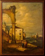 A Pair of Venetian Port Scenes  Oil on Canvas with Mixe