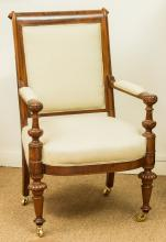 A Louis Philippe Upholstered Mahogany Fauteuil, mid-19t