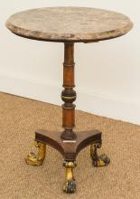 A Regency-Style Partial Gilt Mahogany and Marble Side T