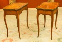 A Pair of Louis XV-Style Gilt Bronze Mounted Marquetry