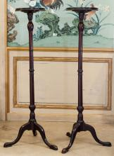 A Pair of George III-Style Mahogany Candle Stands, mid