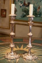 A Pair of Silver-Plated Candlesticks, late 19th century