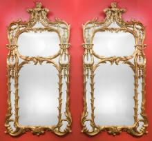 A Pair of Monumental Louis XV-Style Carved Giltwood Pie