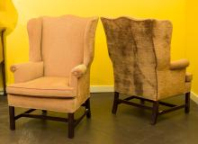 A Pair of George III-Style Upholstered Mahogany Wingbac