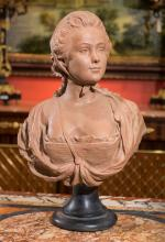 A French Terracotta Bust of a Young Woman after A. Cono