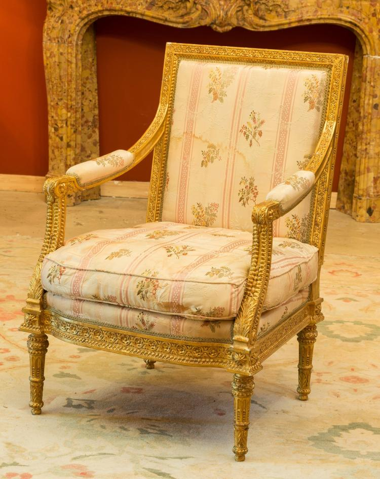 a louis xvi style giltwood and upholstered fauteuil 20. Black Bedroom Furniture Sets. Home Design Ideas