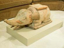 An Asian Carved Wood Elephant Figure on Plinth 17-1/2 h