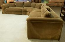 A Three-Piece Sectional Upholstered Sofa, late 20th cen