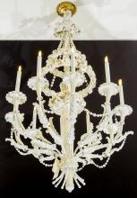 An Louis XVI Style White Painted Wood and Metal Ten-Lig