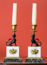A Pair of Egyptian Revival-Style Marble, Gilt Bronze, a