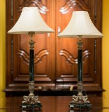 A Pair of Empire-Style Silvered Metal and Marble Lamps,