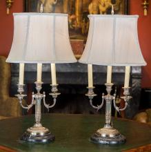 A Pair of George III-Style Silver-Plated Three-Light Ca