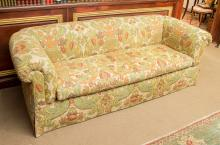 A Printed Linen Upholstered Sofa, 20th century 28 h x 8