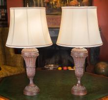 A Pair of Carved Oak Lamps, 20th century 29-1/4 inches