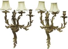 A Pair of Louis XV-Style Three-Light Wall Sconces 19-1/
