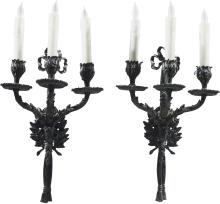 A Pair of Louis XVI-Style Patinated Bronze Three-Light