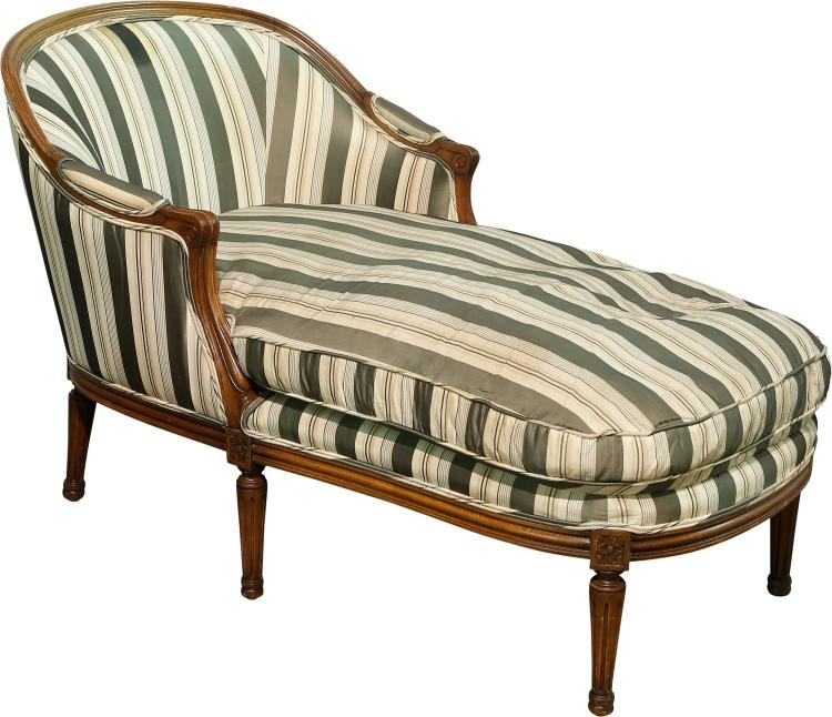 A louis xvi style upholstered walnut chaise lounge lat for Furniture 63376