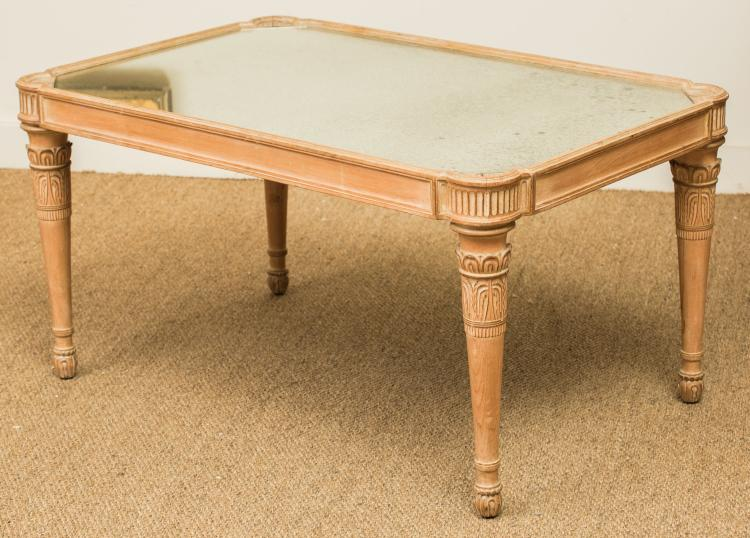 A neoclassical style pine coffee table with mirrored to for Furniture 63385