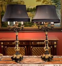 A Pair of Charles X-Style Gilt and Patinated Bronze Fiv