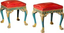 A Fine Pair of Italian Rococo Style Polychromed Wood an