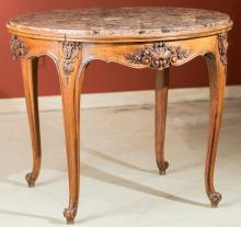 A Louis XIV-Style Carved Walnut and Marble Center Table