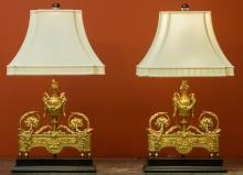 A Pair of Louis XVI-Style Gilt Bronze Chenets Mounted a