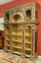 An Italian Neoclassical Faux Marble Painted Wood Biblio