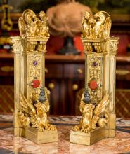 A Pair of French Renaissance Revival Gilt Bronze Chenet