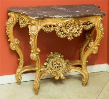 A Louis XV-Style Carved Giltwood Console with Marble To