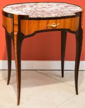 A Louis XVI-Style Parquetry Side Table with Marble Top