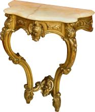A Louis XV-Style Carved Giltwood Console with White Mar