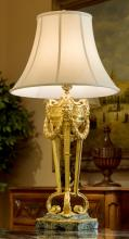 A Louis XV-Style Gilt Bronze Table Lamp with Verde Marb