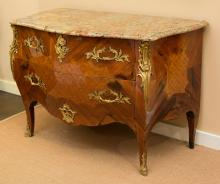 A Louis XV-Style Mahogany, Satinwood, Marquetry and Gil