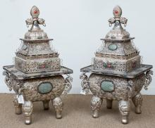 A Large Pair of Chinese Silver Over Copper Censers, mid