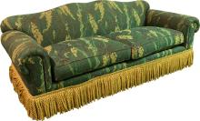 A Classical-Style Upholstered Sofa with Fringe Skirt, 2