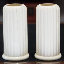 A Pair of Royal Crown Art Deco Porcelain Ribbed Vases,