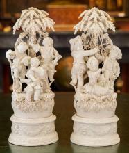 A Pair of White Glazed Ceramic Capodimonte Figural Grou