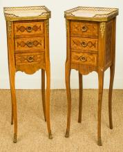 A Pair of Louis XV-Style Parquetry Three-Drawer Petit C