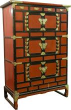 A Japanese Red and Black Lacquer Cabinet with Silvered