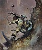 Frazetta, Frank - Warrior with Ball and Chain, Flashing Swords #1, paperback cover, Frank Frazetta, Click for value