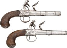 Pair of Richards Flintlock Pistols.  Unserialized, .52