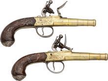 Pair of Engraved London Freeman Flintlock Pistols.  Uns