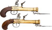 Pair of Blunderbuss Dueling Flintlock Pistols with Bayo